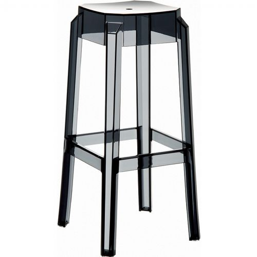 Fox Polycarbonate Outdoor Barstool Transparent Black ISP037-TBLA