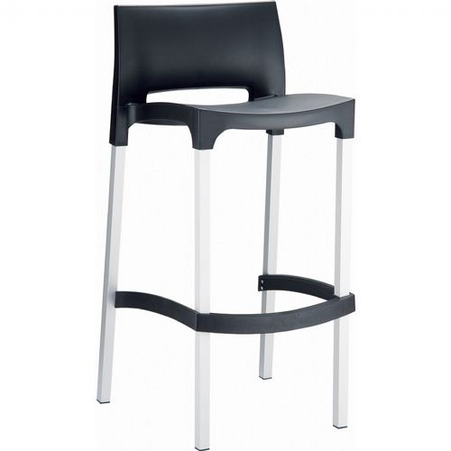 Gio Resin Outdoor Barstool Black ISP035-BLA