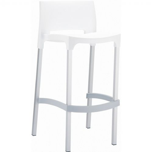 Gio Resin Outdoor Barstool White ISP035-WHI