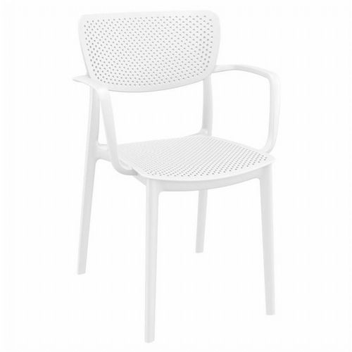 Loft Outdoor Dining Arm Chair White ISP128-WHI