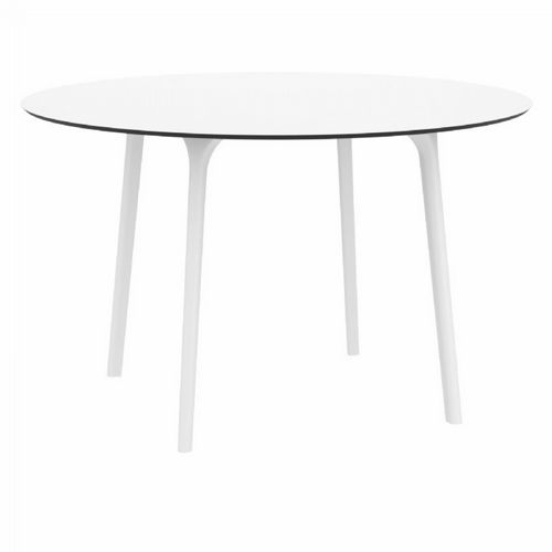 Maya Round Outdoor Dining Table 47 inch White ISP675-WHI