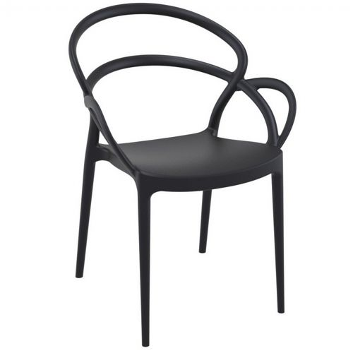 Mila Outdoor Dining Arm Chair Black ISP085-BLA