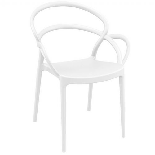 Mila Outdoor Dining Arm Chair White ISP085-WHI
