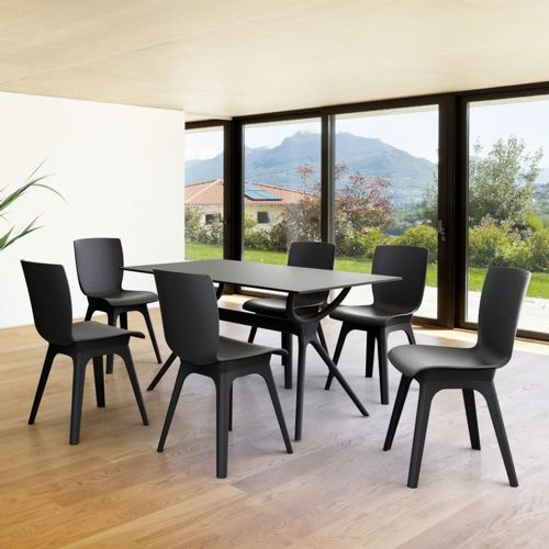 Mio PP Modern Dining Set Black 7 Piece with 55 inch Air Table ISP0941S-BLA