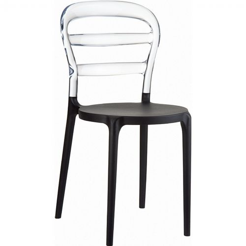 Miss Bibi Chair Black with Transparent Back ISP055-BLA-TCL
