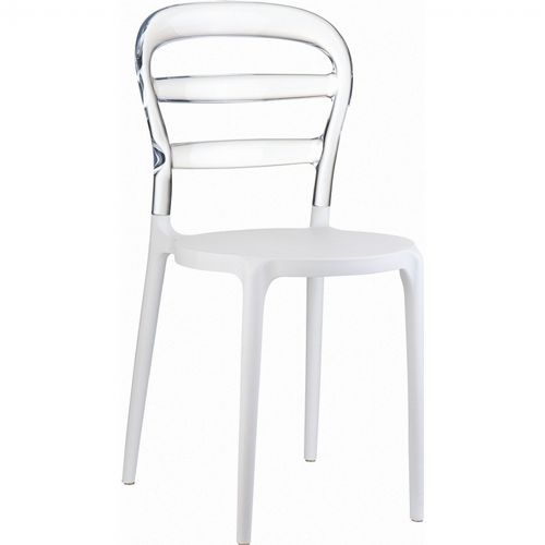 Miss Bibi Chair White with Transparent Back ISP055-WHI-TCL