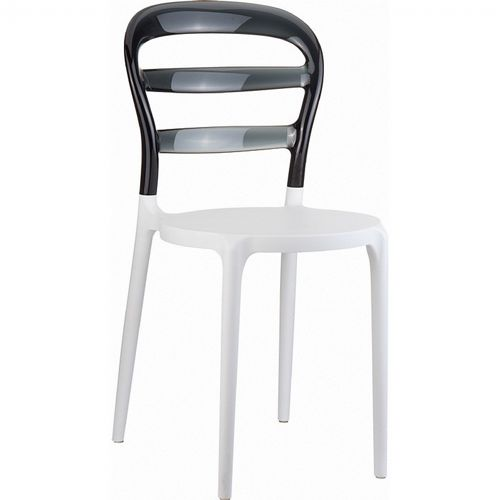 Miss Bibi Chair White with Transparent Black Back ISP055-WHI-TBLA