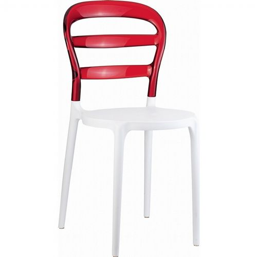 Miss Bibi Chair White with Transparent Red Back ISP055-WHI-TRED