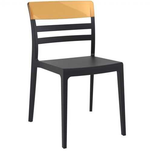 Moon Dining Chair Black with Transparent Amber ISP090-BLA-TAMB