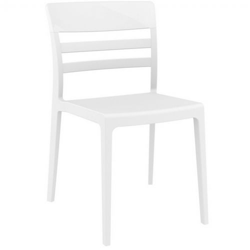 Moon Dining Chair White with Glossy White Back ISP090-WHI-GWHI