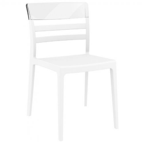 Moon Dining Chair White with Transparent Clear ISP090-WHI-TCL