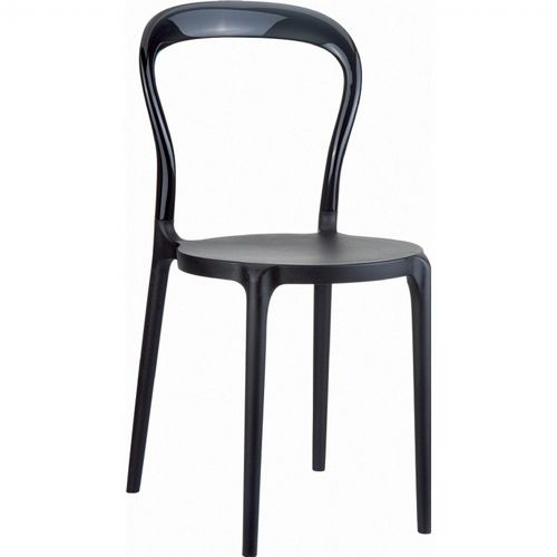 Mr Bobo Chair Black with Transparent Black Back ISP056-BLA-TBLA