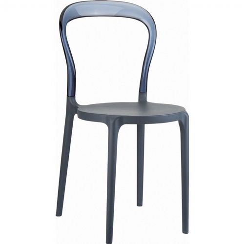 Mr Bobo Chair Dark Gray with Transparent Smoke Gray Back ISP056-DGR-TGRY