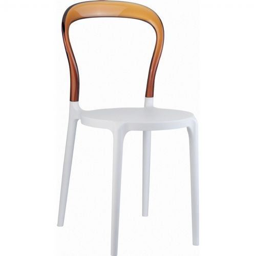 Mr Bobo Chair White with Transparent Amber Back ISP056-WHI-TAMB