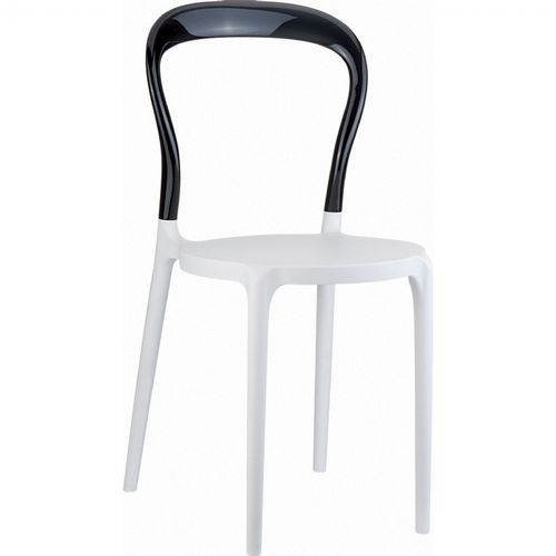 Mr Bobo Chair White with Transparent Black Back ISP056-WHI-TBLA
