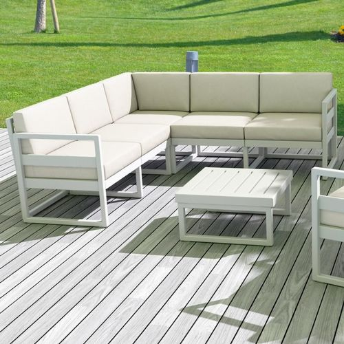 Mykonos Corner Sectional 5 Person Lounge Set White with Natural Cushion ISP134-WHI-CNA