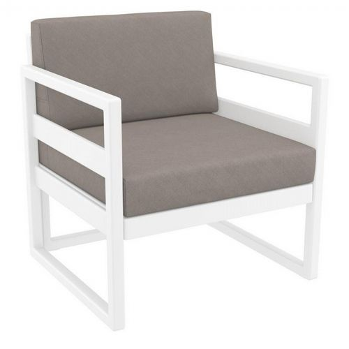 Mykonos Patio Club Chair White with Sunbrella Taupe Cushion ISP131-WHI-CTA
