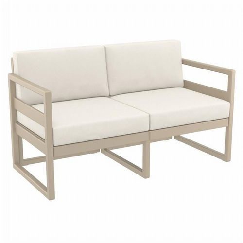 Mykonos Patio Loveseat Taupe with Sunbrella Natural Cushion ISP1312-DVR-CNA