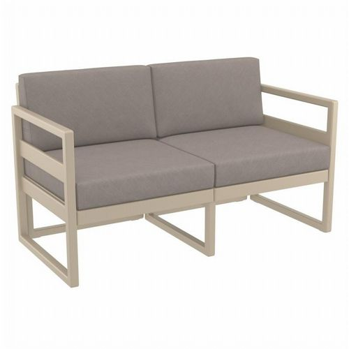 Mykonos Patio Loveseat Taupe with Sunbrella Taupe Cushion ISP1312-DVR-CTA