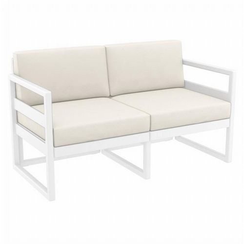 Mykonos Patio Loveseat White with Sunbrella Natural Cushion ISP1312-WHI-CNA
