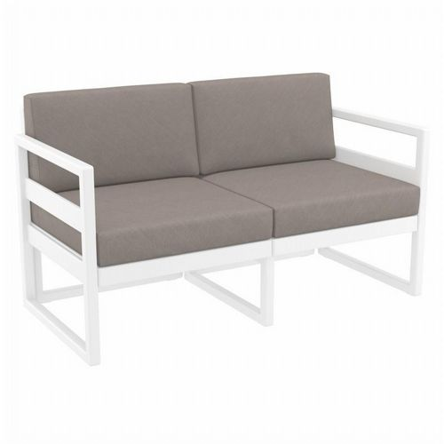 Mykonos Patio Loveseat White with Taupe Cushion ISP1312-WHI-CTA