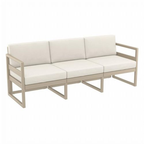 Mykonos Patio Sofa Taupe with Natural Cushion ISP1313-DVR-CNA