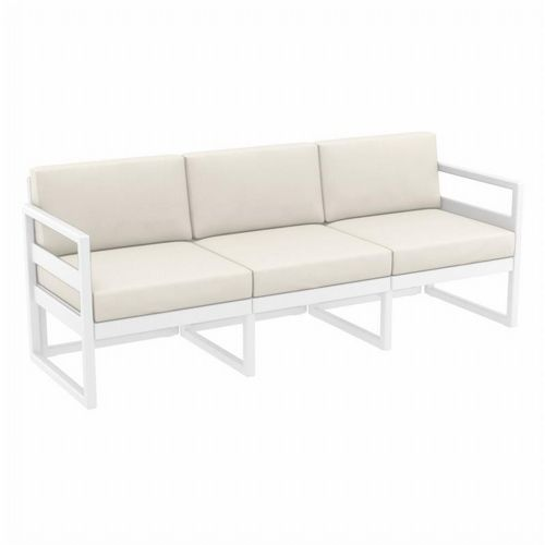 Mykonos Patio Sofa White with Natural Cushion ISP1313-WHI-CNA