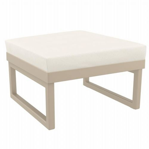 Mykonos Square Ottoman Taupe with Natural Cushion ISP137F-DVR-CNA