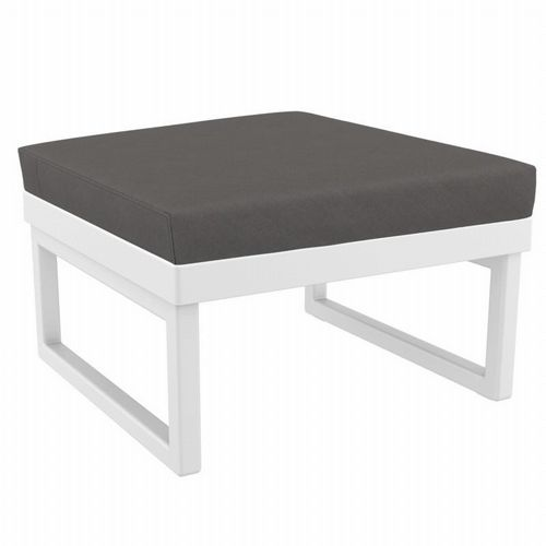 Mykonos Square Ottoman White with Sunbrella Charcoal Cushion ISP137F-WHI-CCH