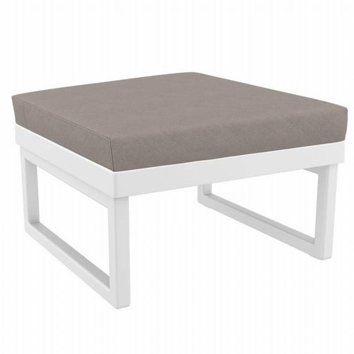 Mykonos Square Ottoman White with Taupe Cushion ISP137F-WHI-CTA