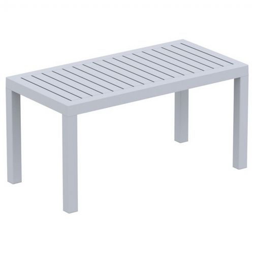 Ocean Rectangle Resin Outdoor Coffee Table Silver Gray ISP069-SIL
