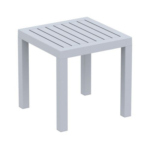 Ocean Square Resin Outdoor Side Table Silver Gray ISP066-SIL