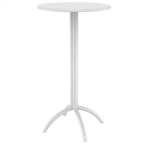 Octopus Resin Bar Table 24 inch Round White ISP161-WHI