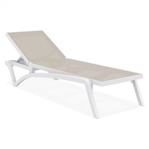 Pacific Stacking Sling Chaise Lounge White - Taupe ISP089-WHI-DVR