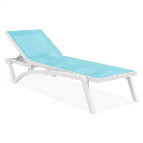 Pacific Stacking Sling Chaise Lounge White - Turquiose ISP089-WHI-TRQ