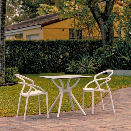 Pia Outdoor Dining Set with 2 Chairs White ISP7007S-WHI