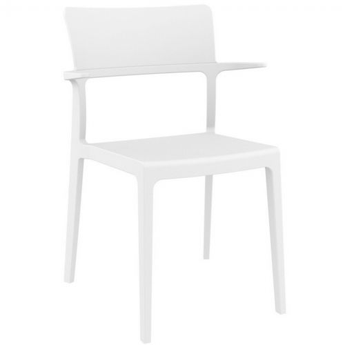 Plus Outdoor Dining Arm Chair White ISP093-WHI