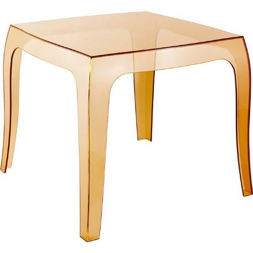 Queen Polycarbonate Square side Table Transparent Amber ISP065-TAMB