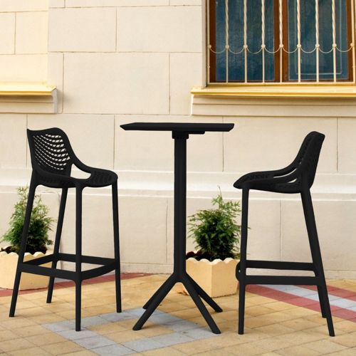 Sky Air Square Bar Set with 2 Barstools Black ISP1162S-BLA