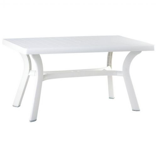 Sunrise Resin Rectangle Outdoor Dining Table 55 Inch White Isp182