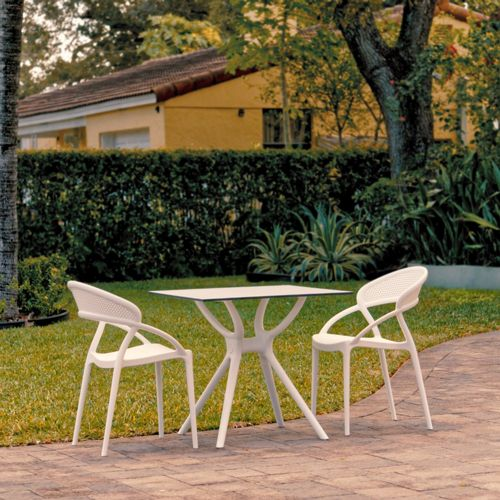 Sunset Outdoor Dining Set with 2 Chairs White ISP7008S-WHI