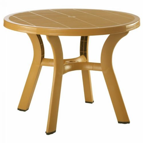 Truva Resin Outdoor Dining Table 42 Inch Round Cafe Latte Isp146 Tea