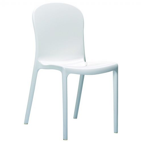 Victoria Glossy Plastic Outdoor Bistro Chair White ISP033-GWHI
