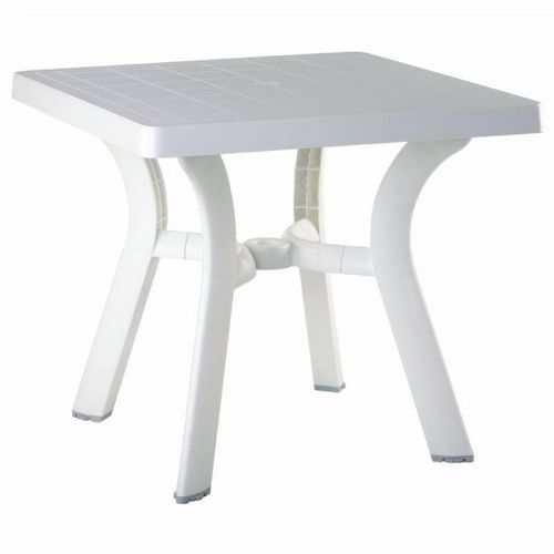 Viva Resin Square Outdoor Dining Table 31 inch White ISP168-WHI