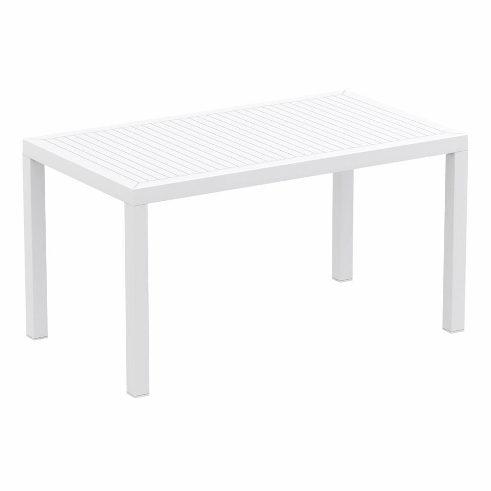 Ares Rectangle Outdoor Dining Table 55 Inch White ISP186 CozyDays