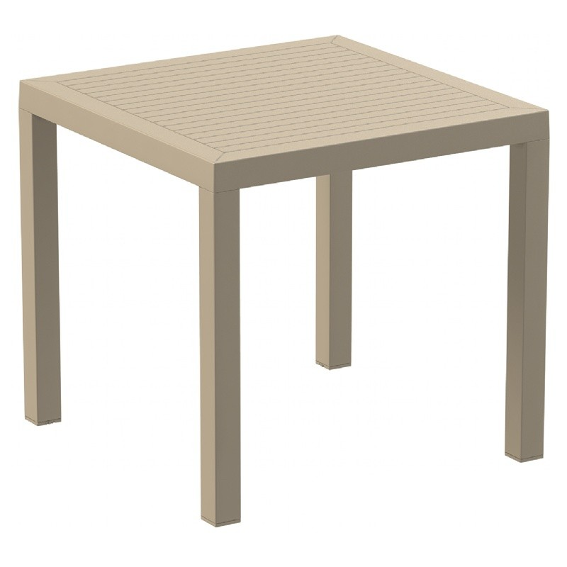 Ares Resin Outdoor Dining Table 31 Inch Square Dove Gray ISP164 CozyDays