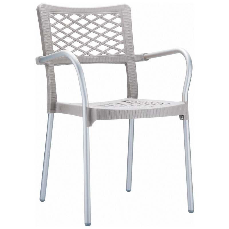 Bella Outdoor Arm Chair Silver Gray
