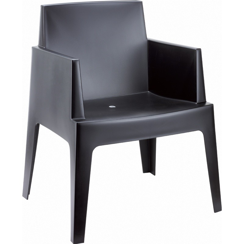 Outdoor Furniture: Resin: Box Outdoor Dining Chair Black