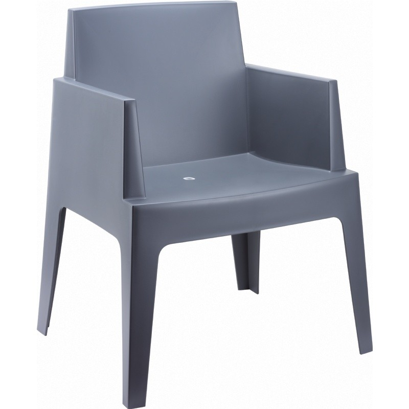 Outdoor Furniture: Resin: Box Outdoor Dining Chair Dark Grey
