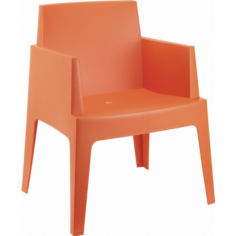 Outdoor Furniture: Resin: Box Outdoor Dining Chair Orange